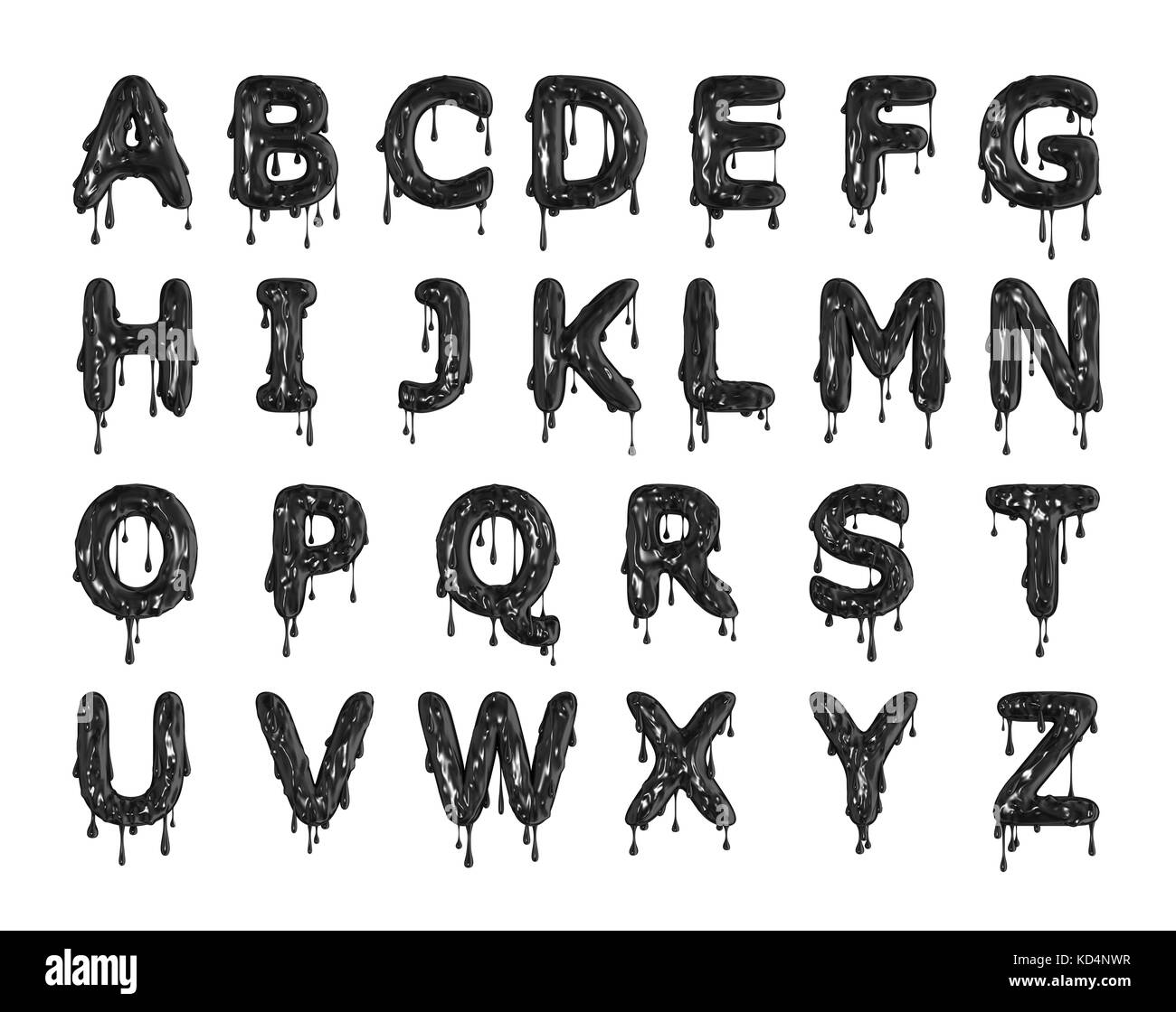 Black dripping slime halloween alphabet letters. 3D Rendering Stock ...