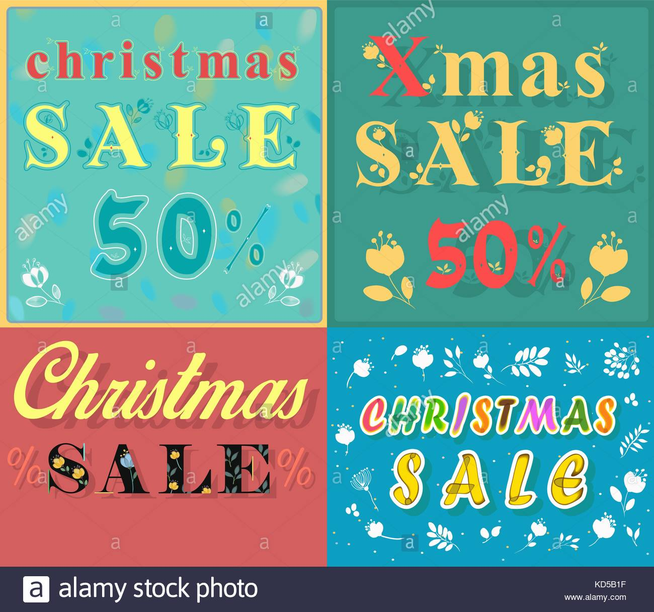 Christmas cards for retail. Artistic font. Texts - Christmas sale ...