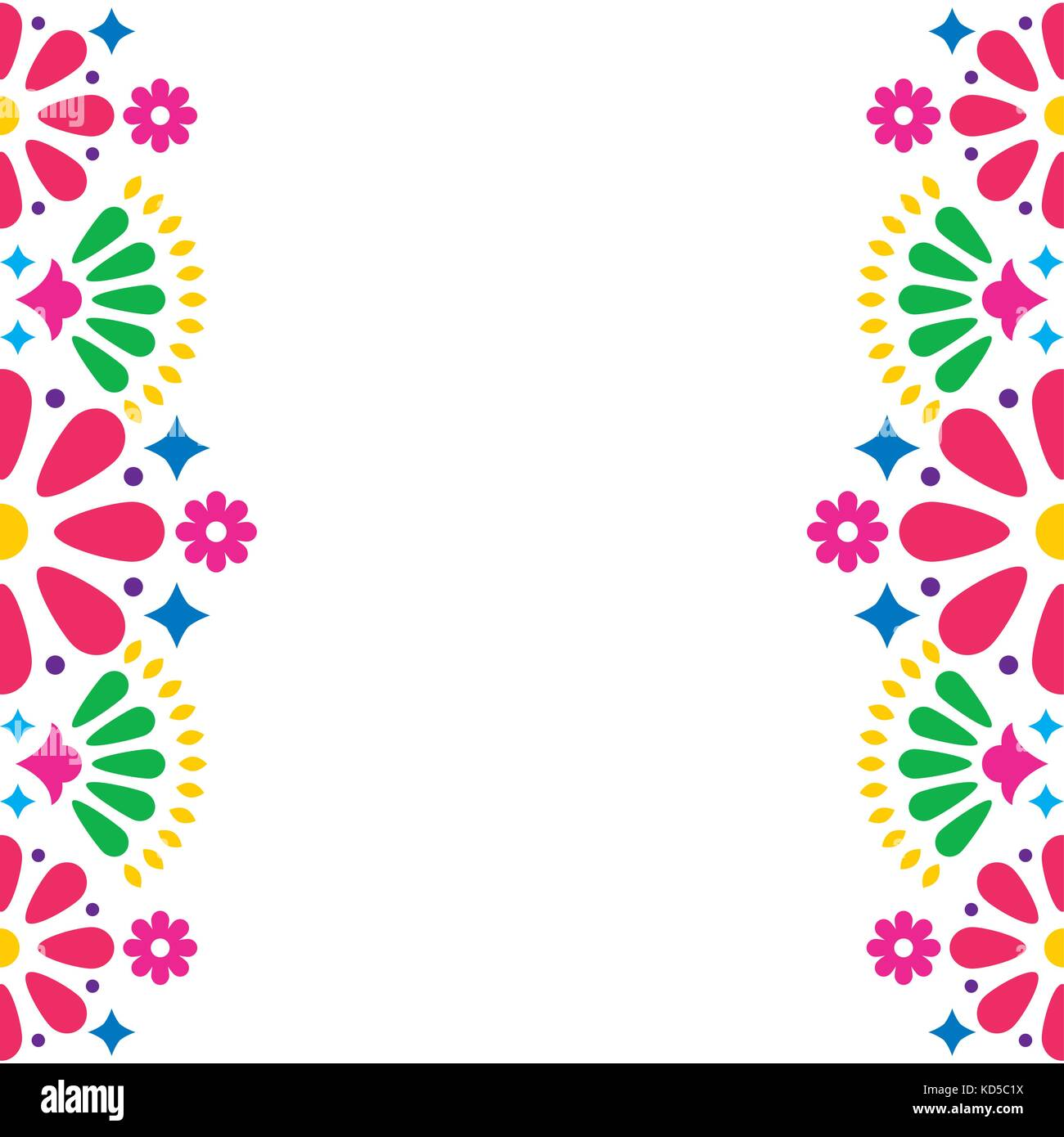 mexican folk vector wedding or party invitation greeting card colorful frame design with flowers and abstract shapes - Mexican Frame