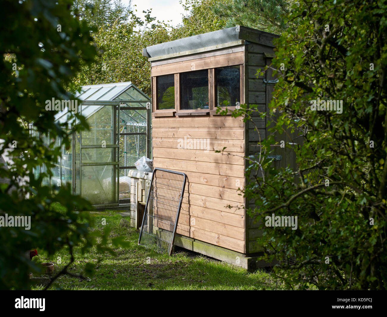 examples of garden sheds in a nidderdale garden at 900ft north yorkshire stock image - Garden Sheds Huddersfield