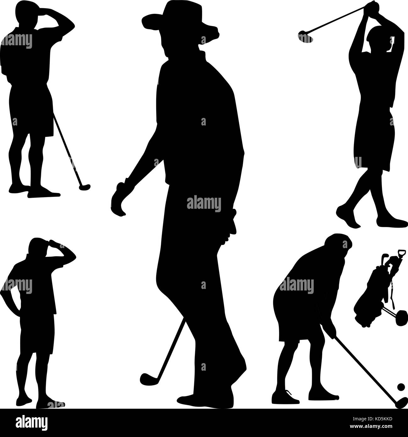 Golf Silhouette Vector Stock Vector Art Illustration Vector Image