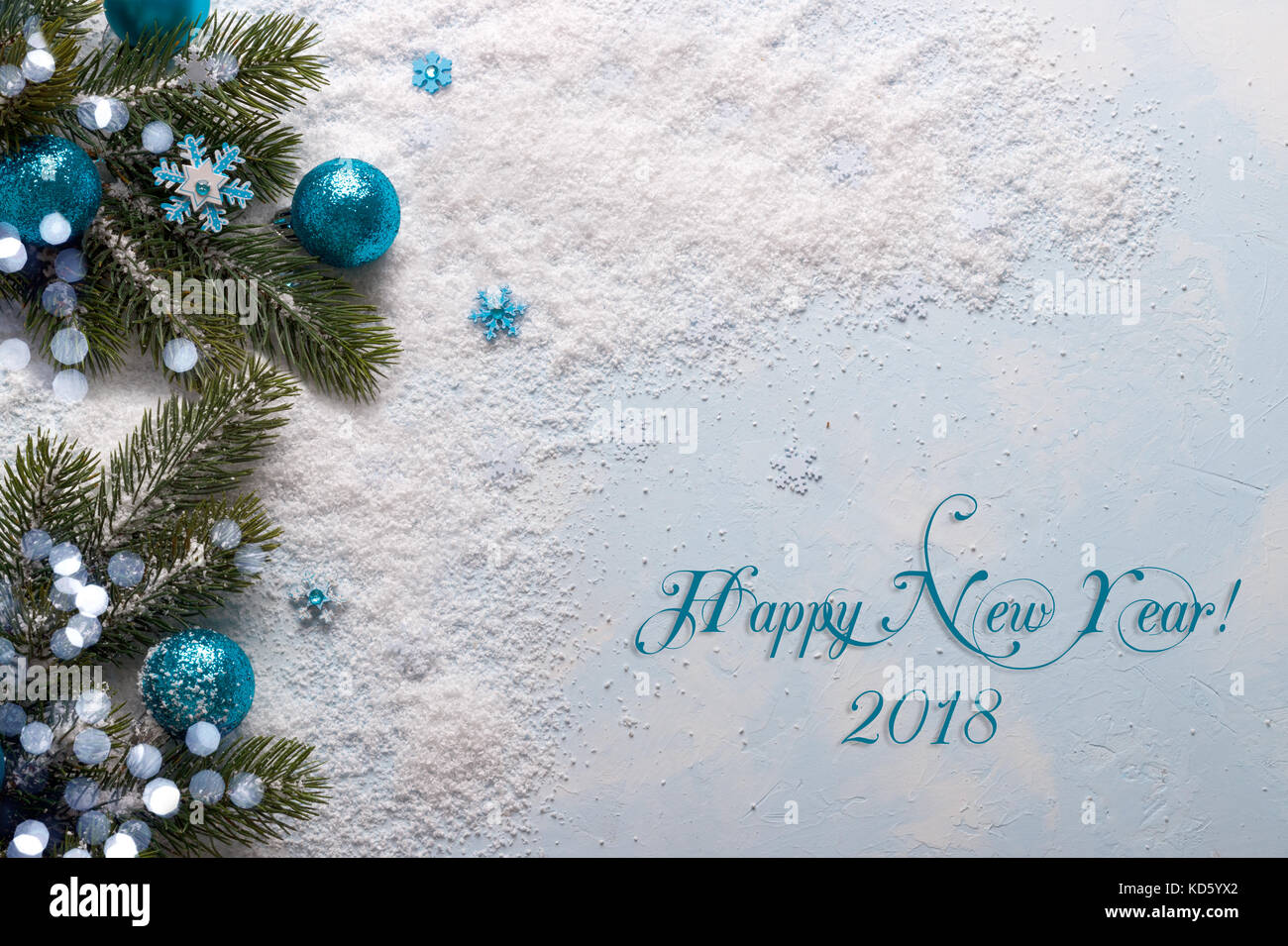 Blue New Year 2018 decorations with festive ornaments on snow, flat ...