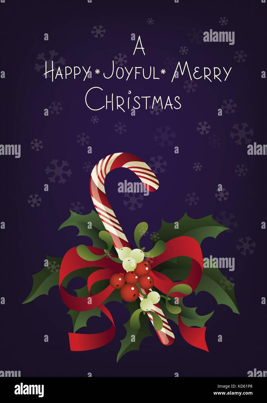 Christmas seasonal greeting card with candy cane. A Happy Joyful ...