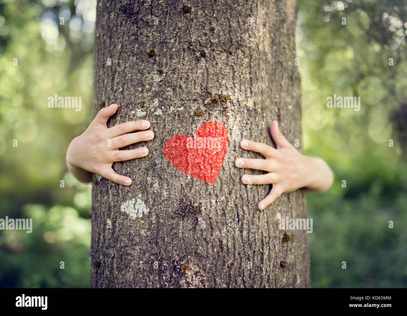 Tree hugging, little boy giving a tree a hug with red heart ...