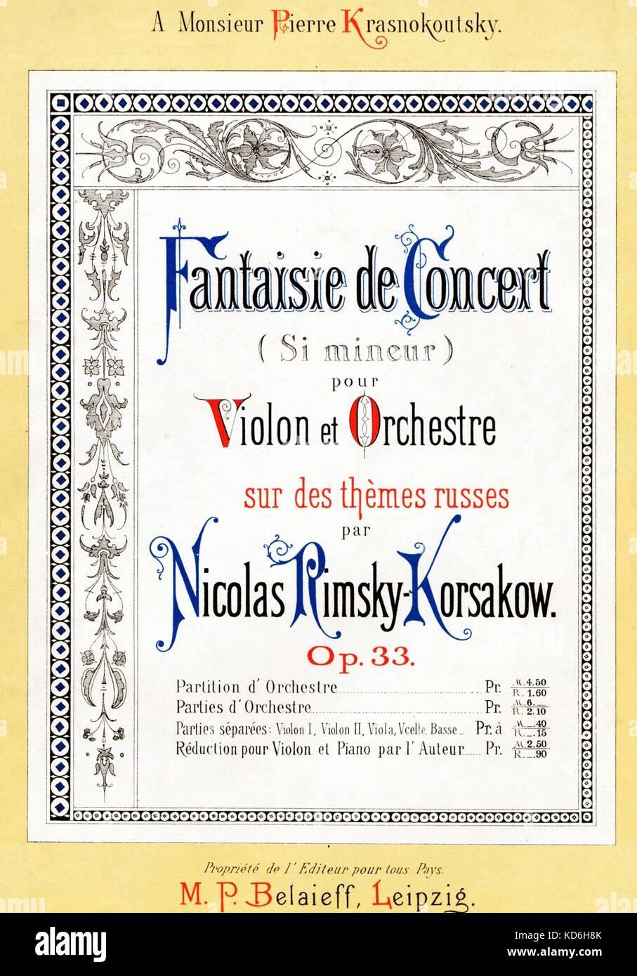 Nikolai p stock photos nikolai p stock images alamy nikolai rimsky korsakovs fantasie de concert score cover in b minor xflitez Image collections