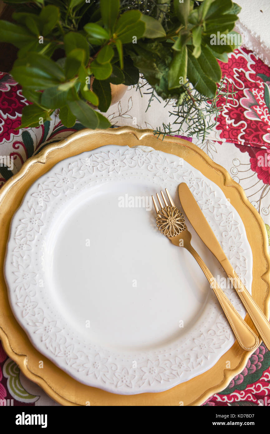 Christmas Place Setting, Table Ready For Lunch, On Golden Plates And White  Patterned Background In Flowers