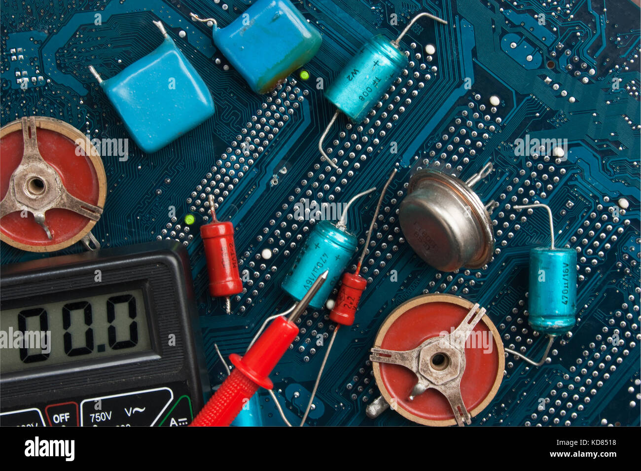 Old Electronic Components On Printed Circuit Board Stock Photo Part Of Vintage Analog With