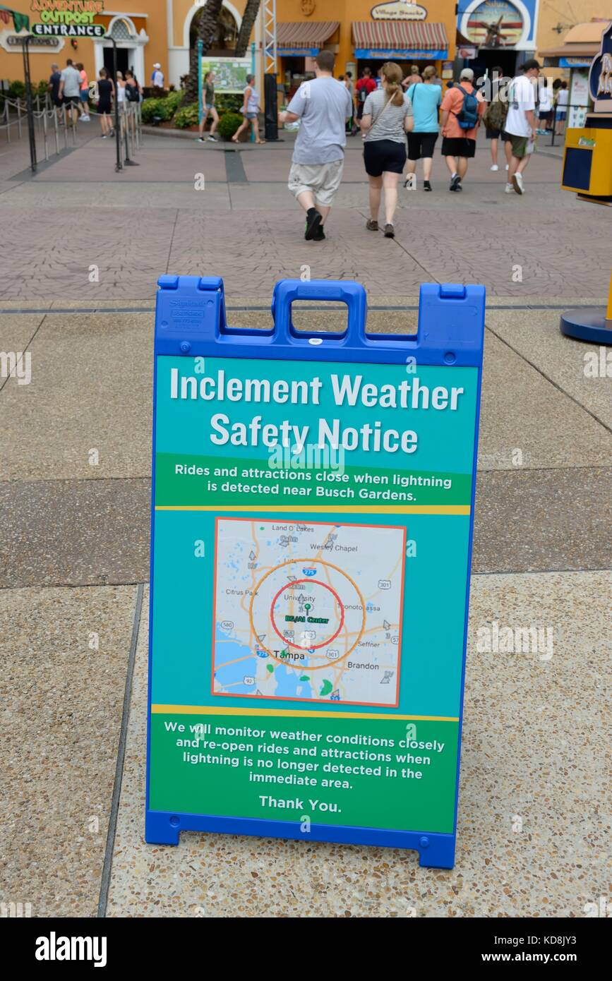 Safety notice regarding inclement weather conditions at the entrance safety notice regarding inclement weather conditions at the entrance to busch gardens florida usa publicscrutiny