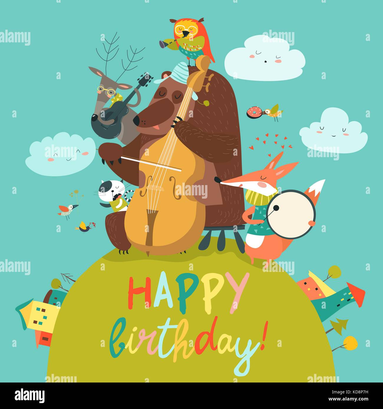 Cute Birthday Card With Animals And Music