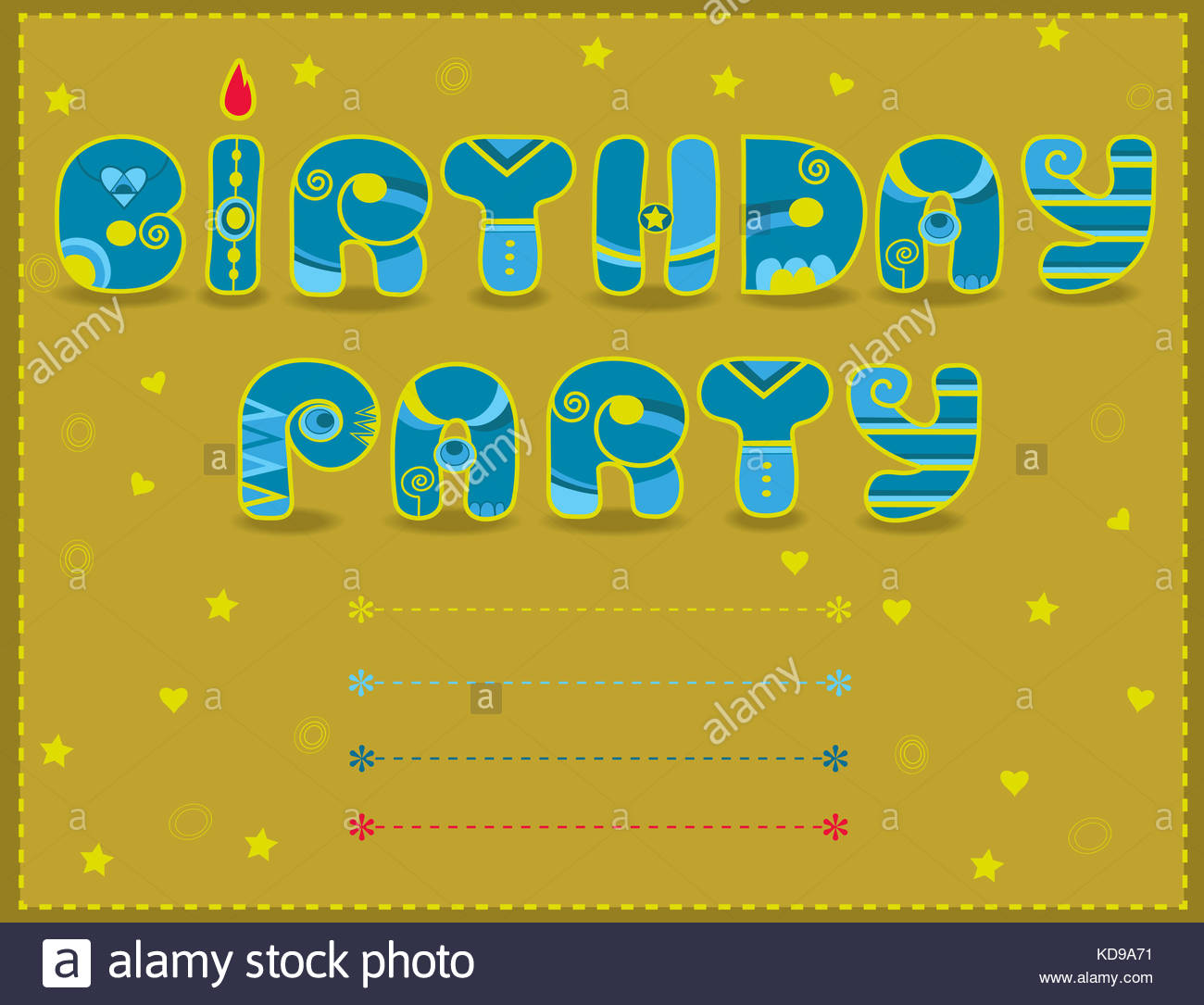 Inscription birthday party artistic font invitation to party inscription birthday party artistic font invitation to party funny blue and yellow letters icelandic decor place for custom text illustration thecheapjerseys Choice Image