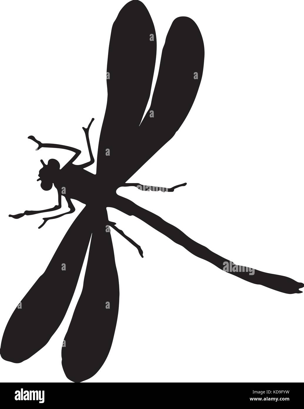 black and white silhouette of a dragonfly stock vector art