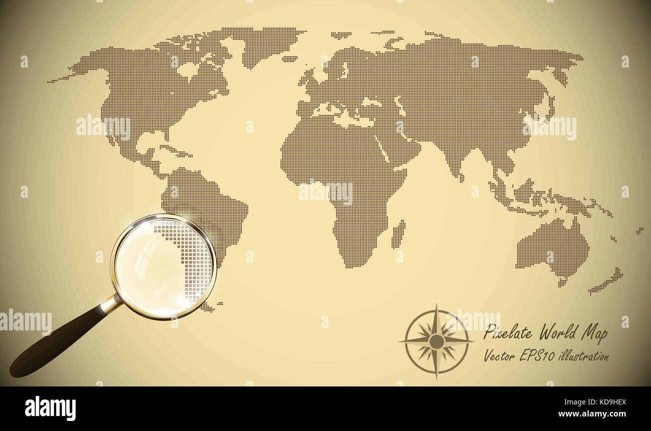 Abstract dotted map old paper halftone retro effect vector stock abstract dotted map old paper halftone retro effect vector illustration world map silhouette continental shapes of dots monochrome round dot grain gumiabroncs Gallery
