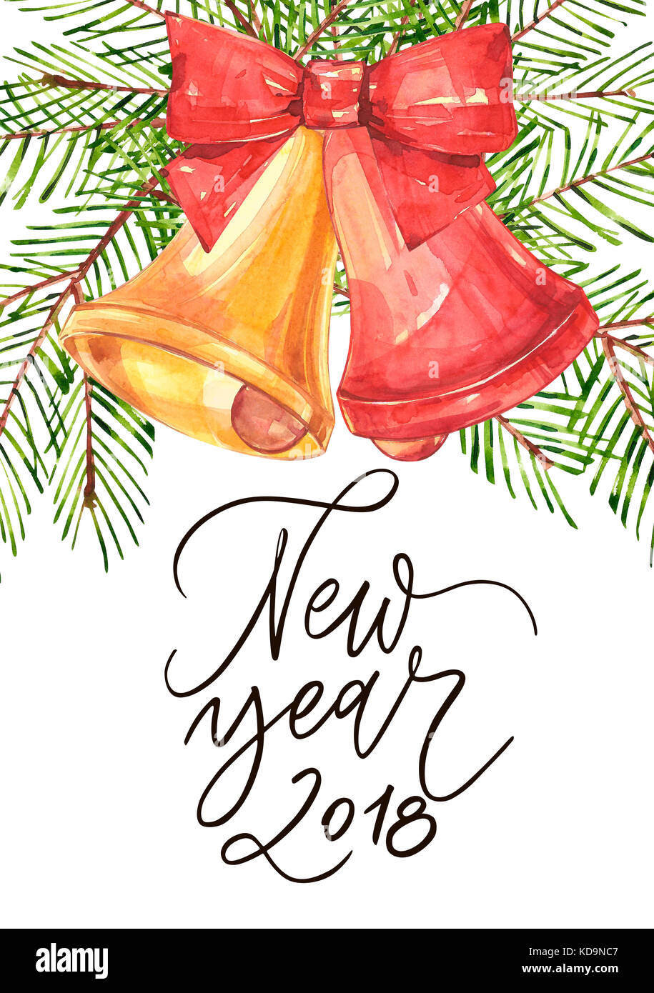 happy new year 2018 phrase holiday lettering illustration illustration in watercolor style of bells and bow and xmas trees isolated on white background