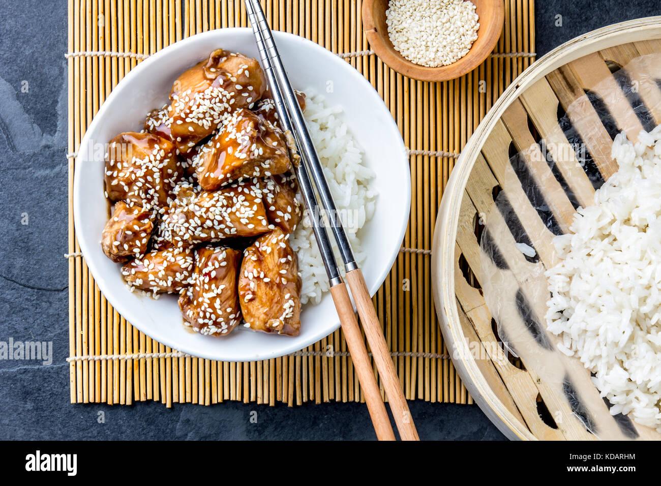 Japanese food chicken teriyaki with rice slate background top japanese food chicken teriyaki with rice slate background top view forumfinder Gallery