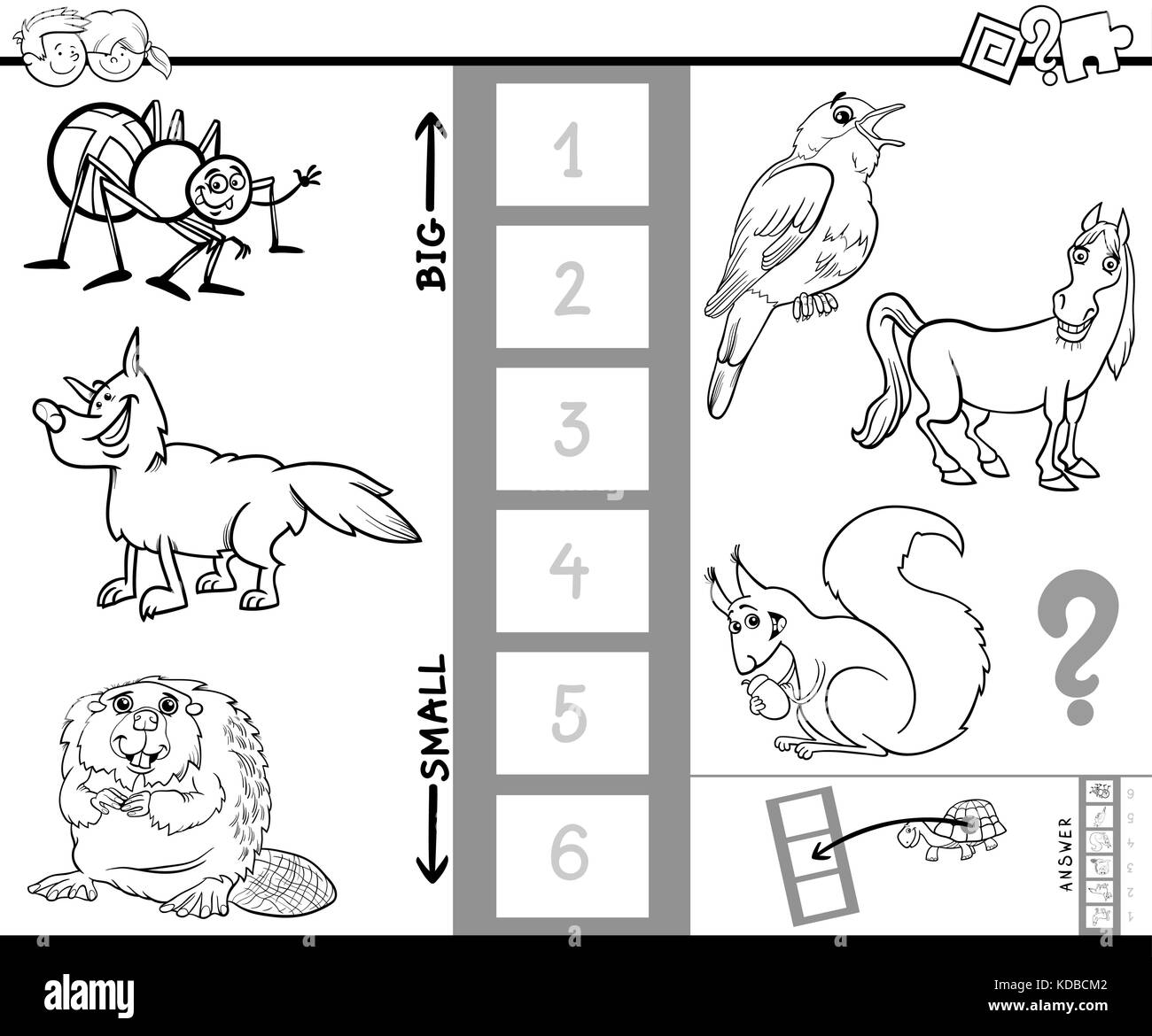 Black And White Cartoon Illustration Of Educational Game Finding The Biggest Smallest Animal Characters Coloring Book