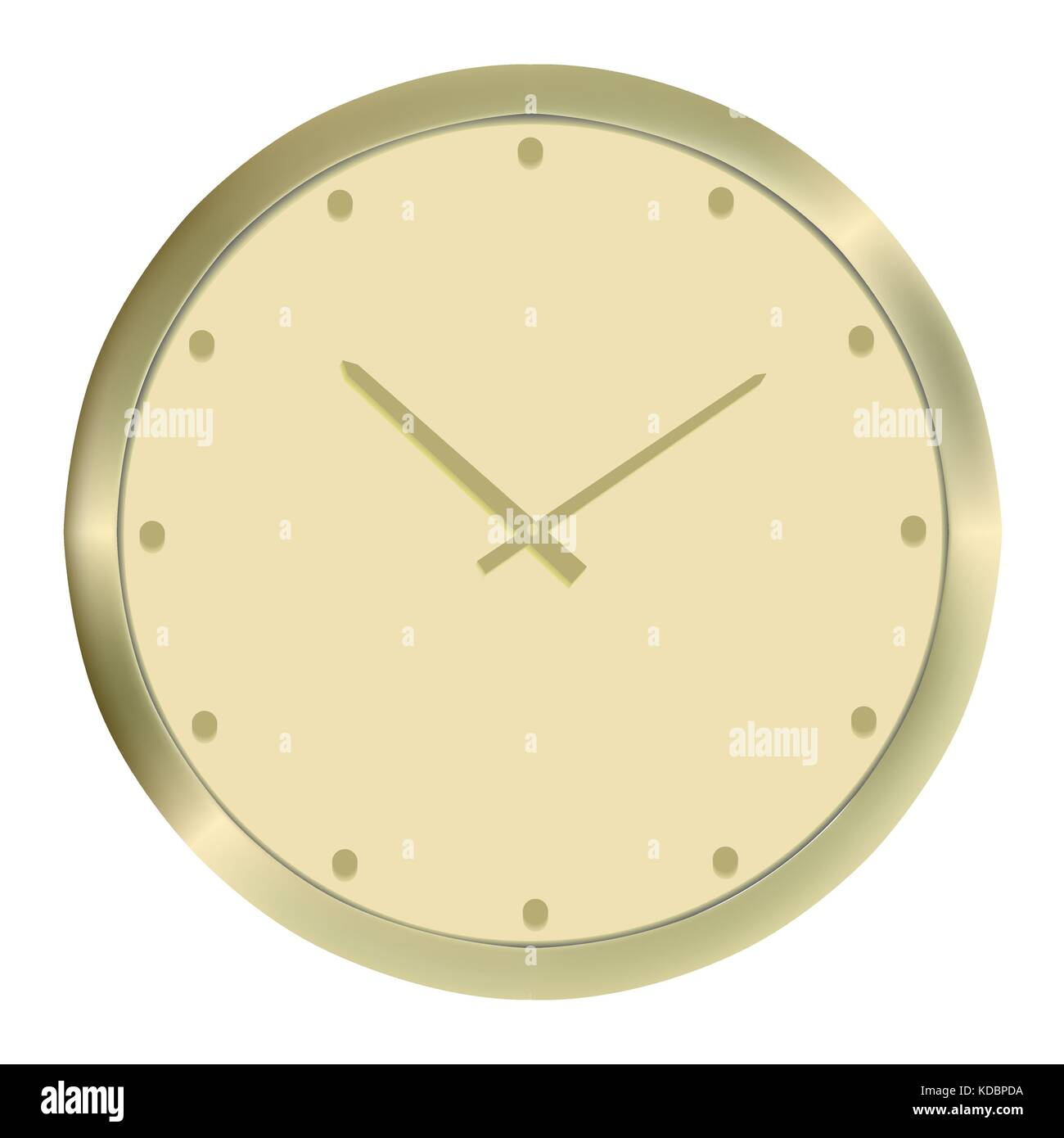 Round Gold wall clock. Vector illustration image. Isolated Stock ...