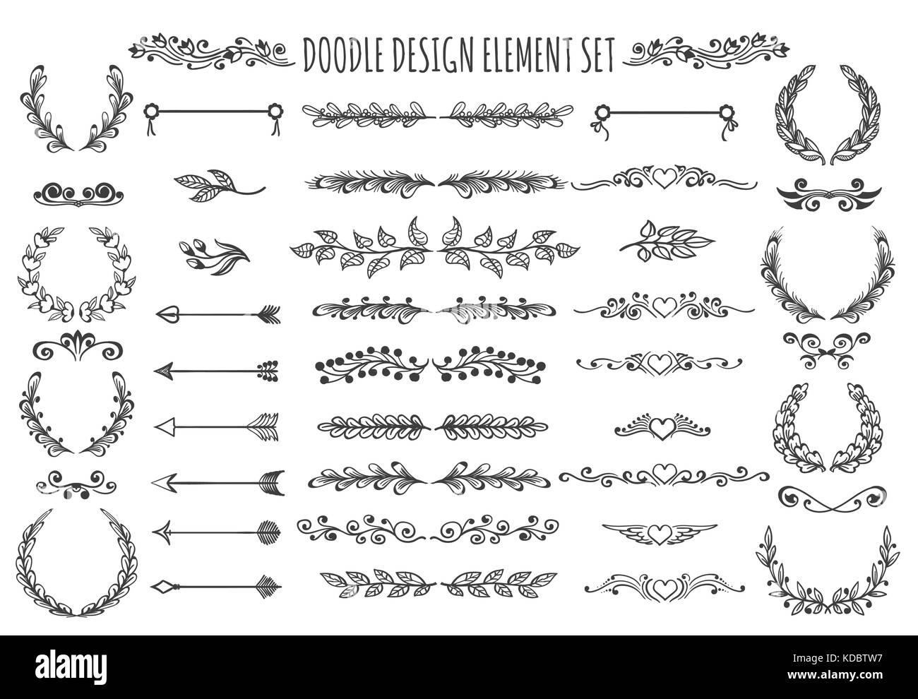 set of doodle design elements hand drawn arrows wreaths