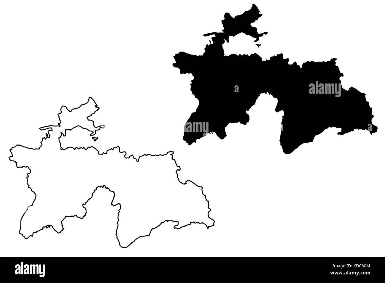 Tajikistan Map Vector Illustration Scribble Sketch Tadjikistan - Tajikistan map vector