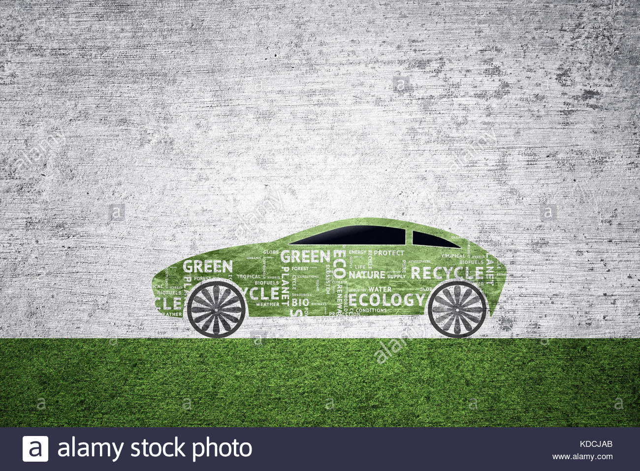 concept green illustrated car icon textured with ecology word tags