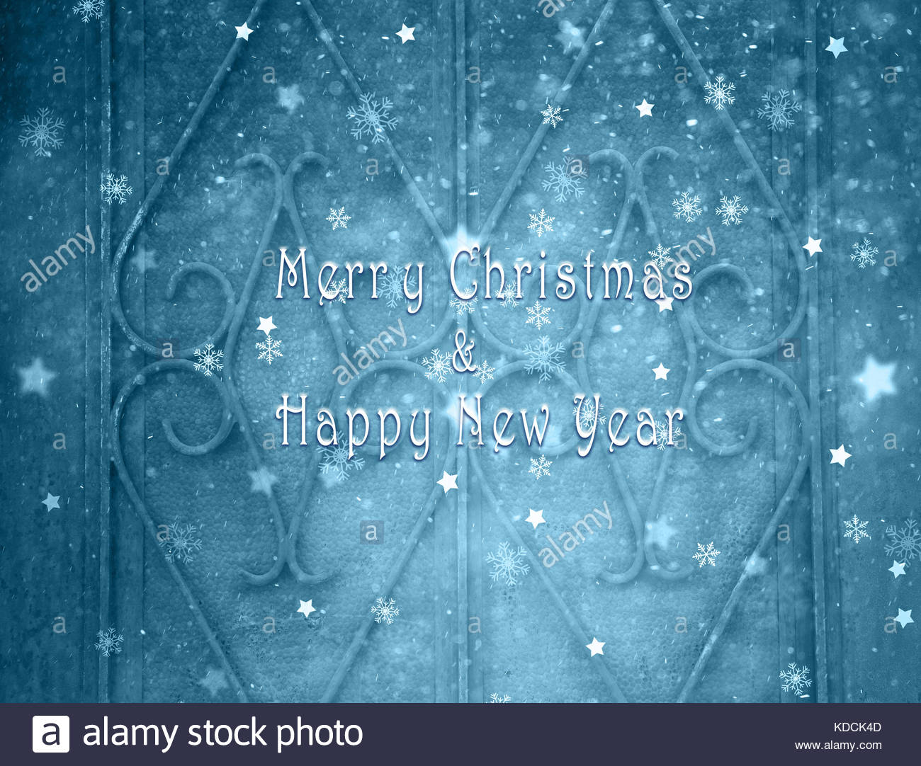 merry christmas and happy new year greeting card message on old house door details background with illustrated snowfall snowy winter new year and chr