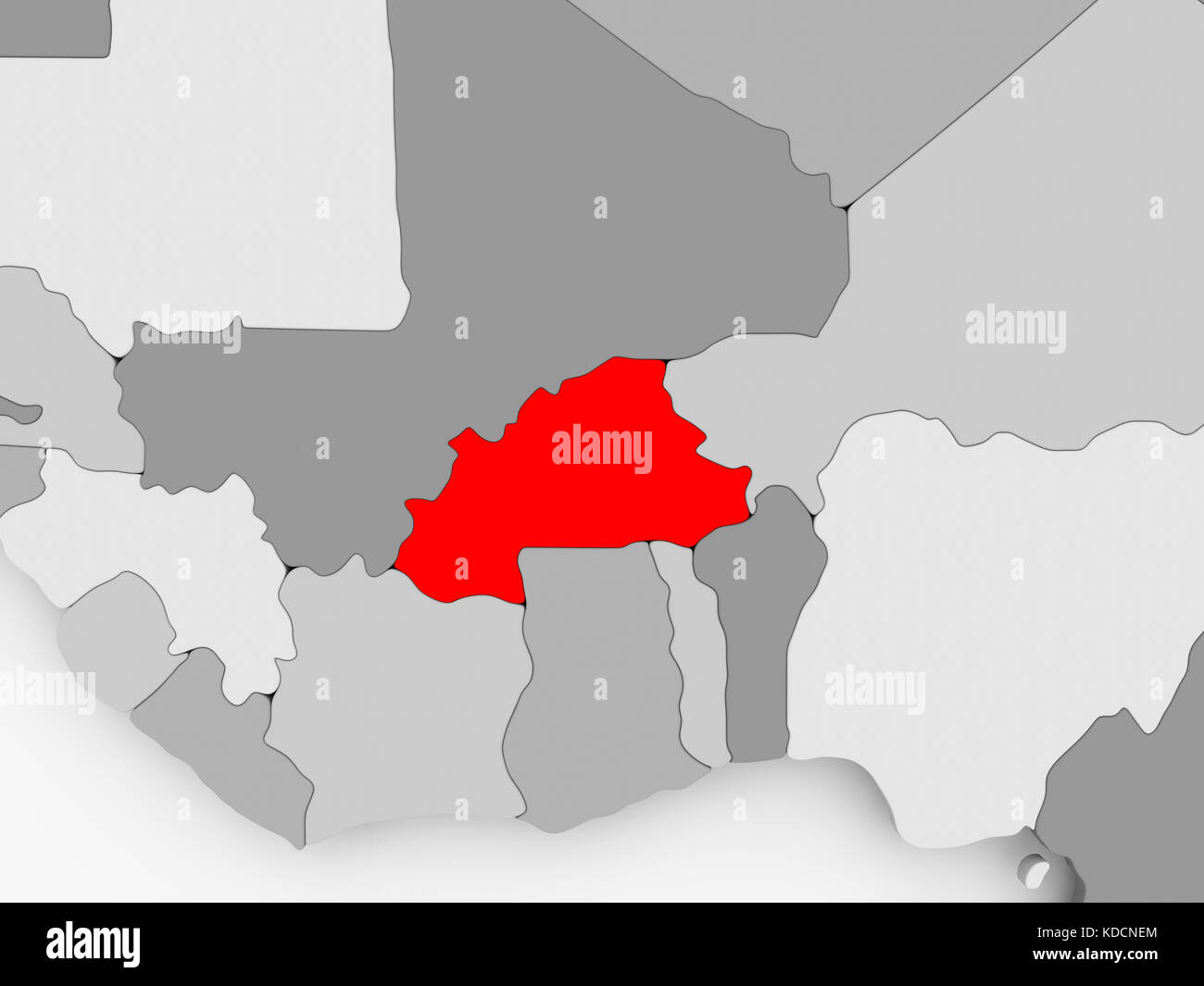 Burkina Faso in red on grey political map 3D illustration Stock