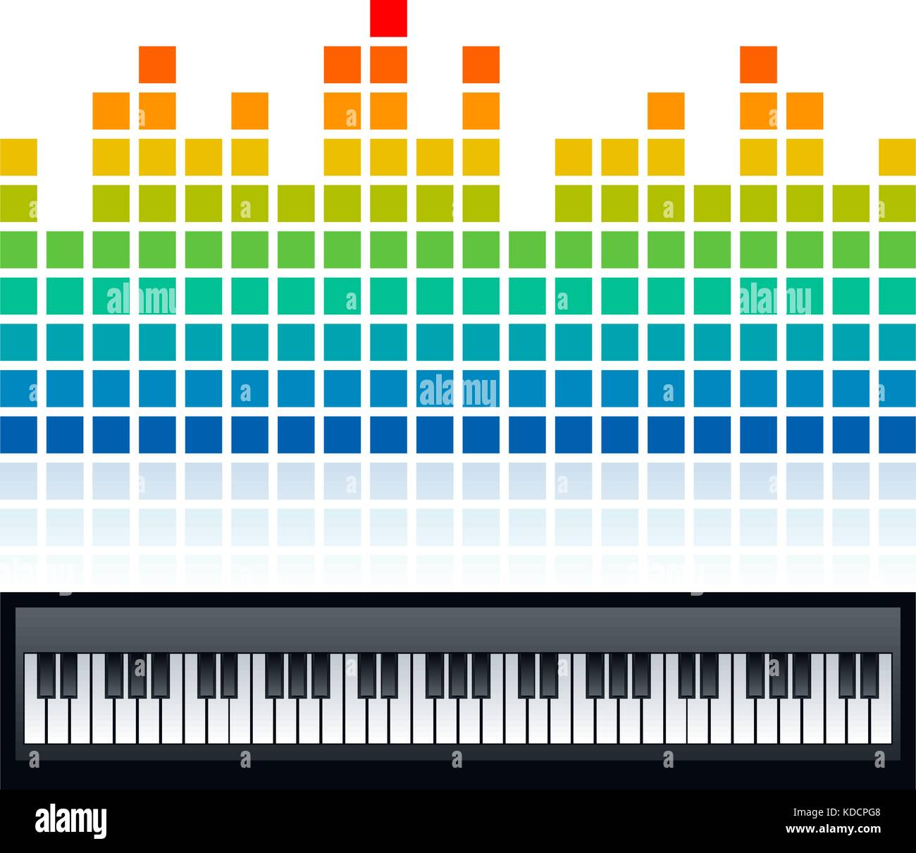 square dots shaped equalizer and piano keyboard design vector stock