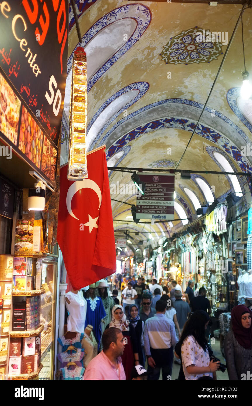 Istanbul Turkey August 23 2017 People shop inside the Grand