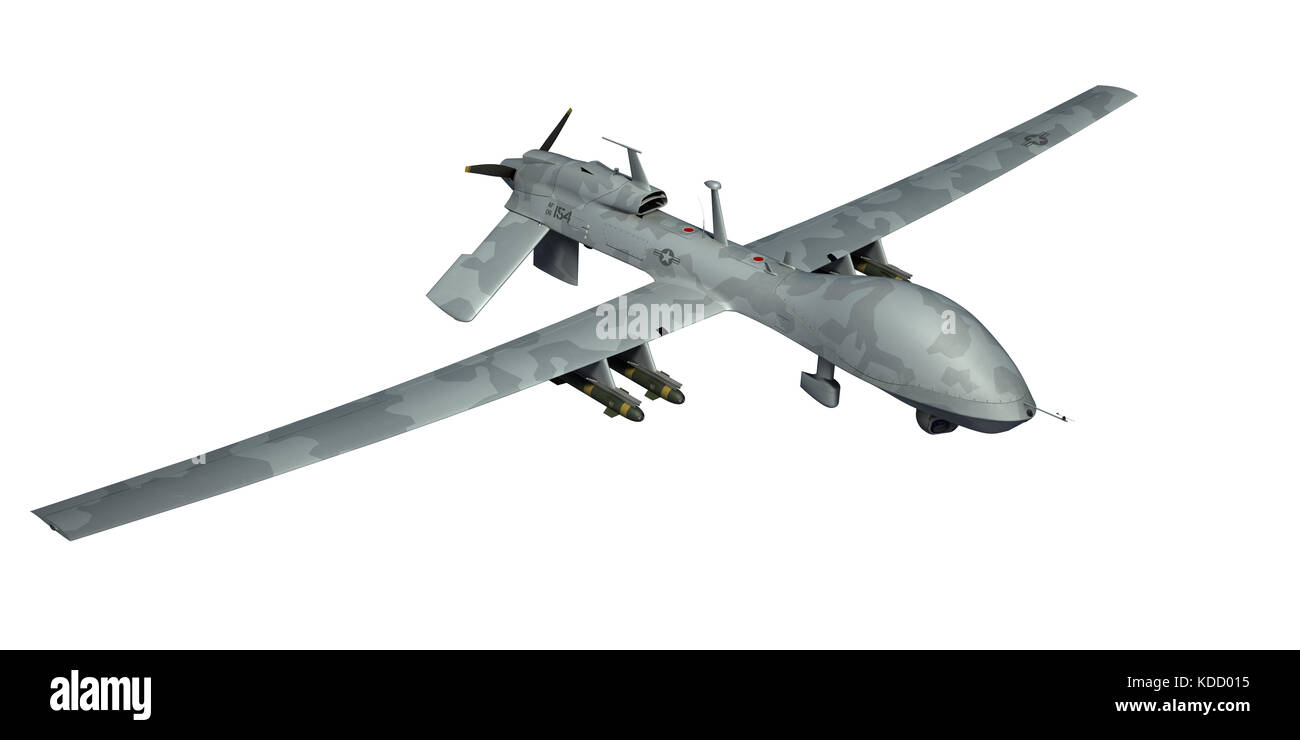 MQ 1C Gray Eagle Military Drone Camouflage 3d Render Isolated Background
