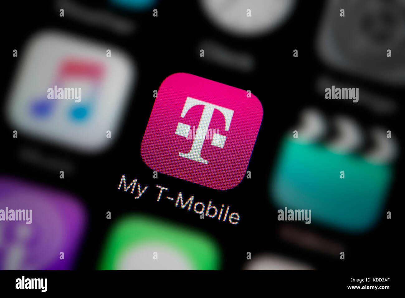 a close up shot of the logo representing my t mobile app icon as seen on the screen of a smart phone editorial use only
