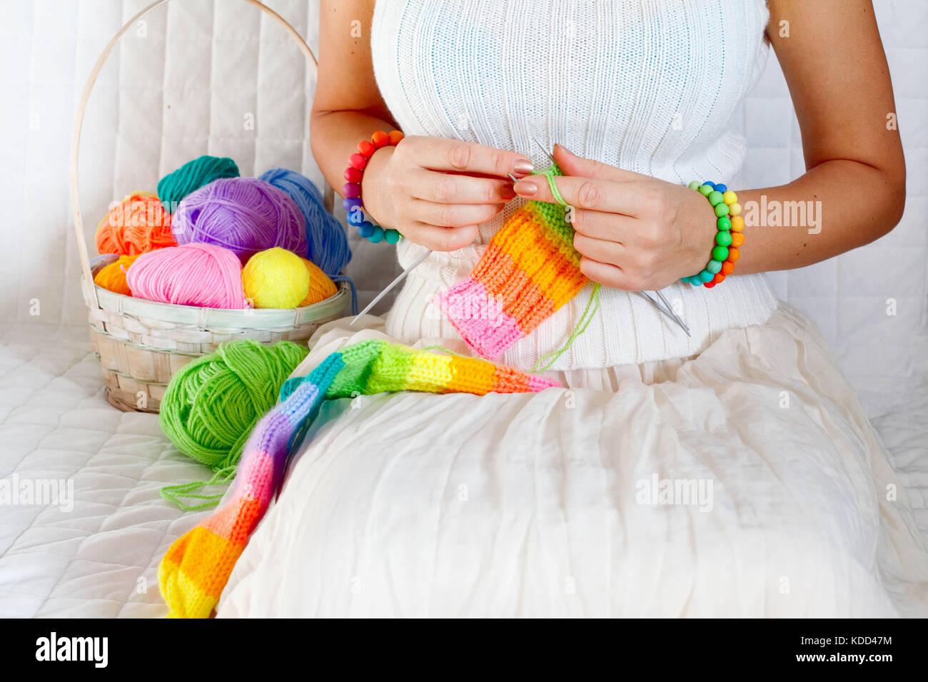 Knitting Freelance : Close up skein gold wool knitting stock photos
