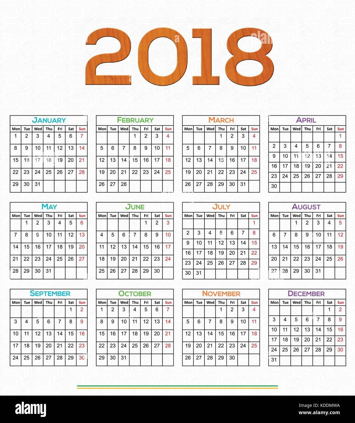 12 Months Calendar Design 2018 Printable And Editable Stock Vector