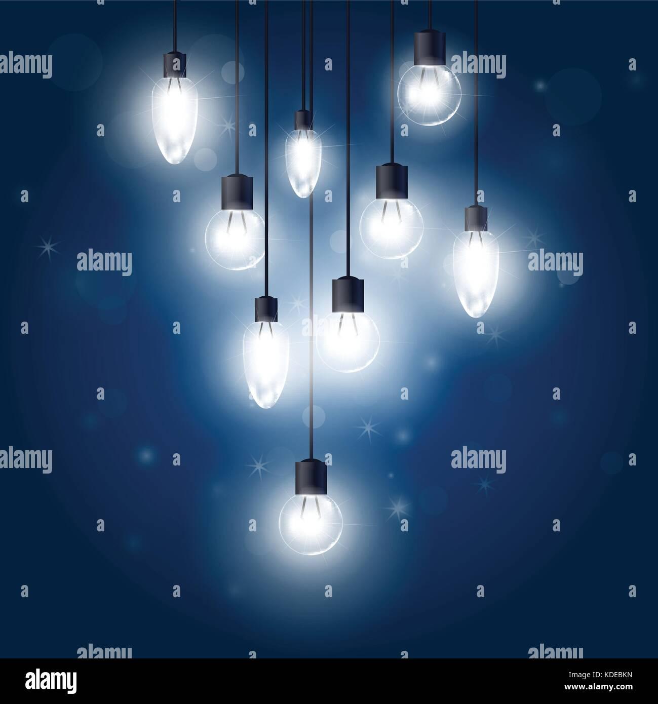 Luminous light bulbs hanging on cords - lamps Stock Vector Art ...
