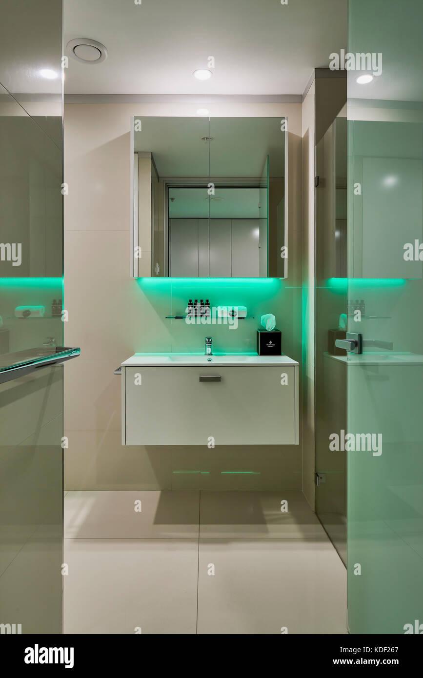 Coloured bathroom suites - Bathroom Featuring Coloured Led Lighting Good Life Suites Crows Nest Australia Architect