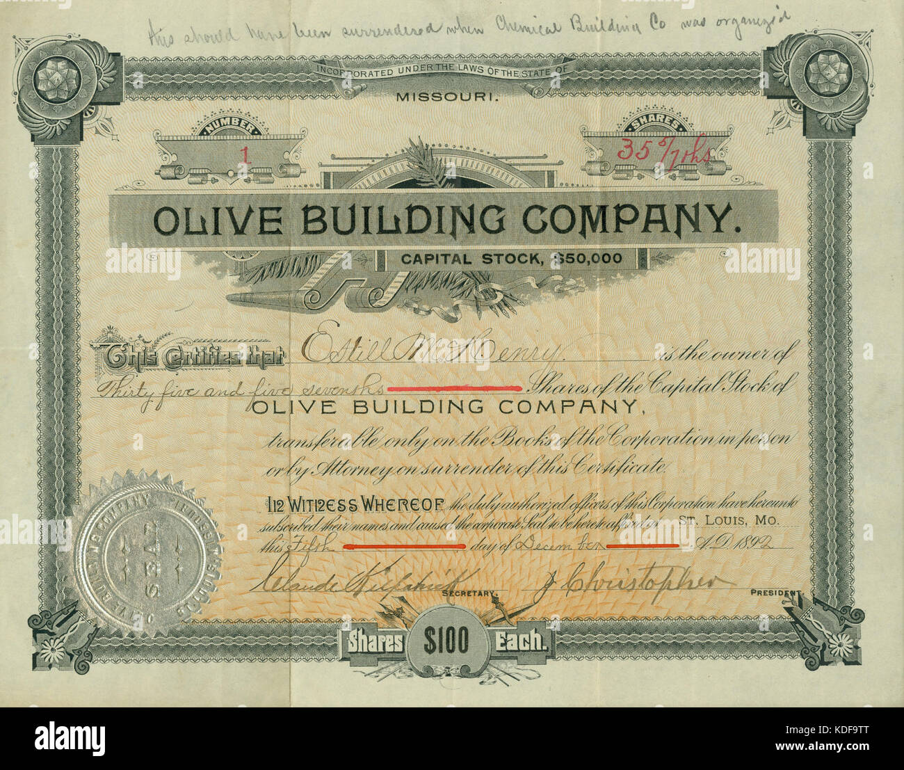 Issued stock certificate stock photos issued stock certificate olive street building company stock certificate issued to estill m henry december 5 xflitez Image collections