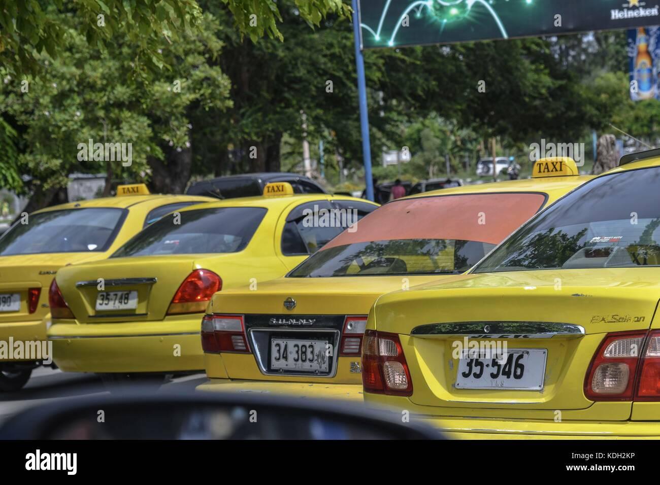 Aeroporto Dili : Taxis at the airport nicolau lobato dili timor leste dec. 28