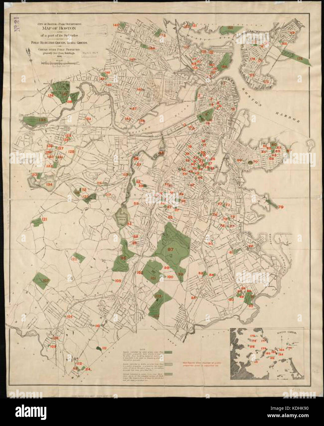 Map of Boston and of a part of its suburbs, showing public ...