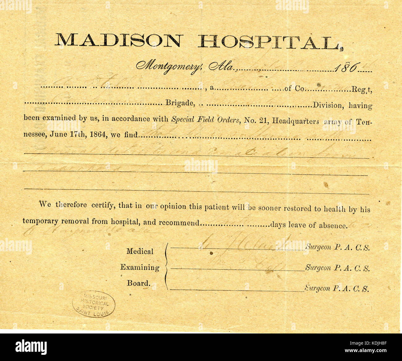 Medical certificate stock photos medical certificate stock medical certificate of a still july 1864 stock image 1betcityfo Gallery