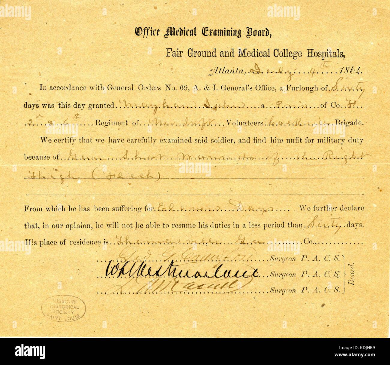 Medical certificate stock photos medical certificate stock medical certificate of john mayhan july 4 1864 stock image xflitez Gallery