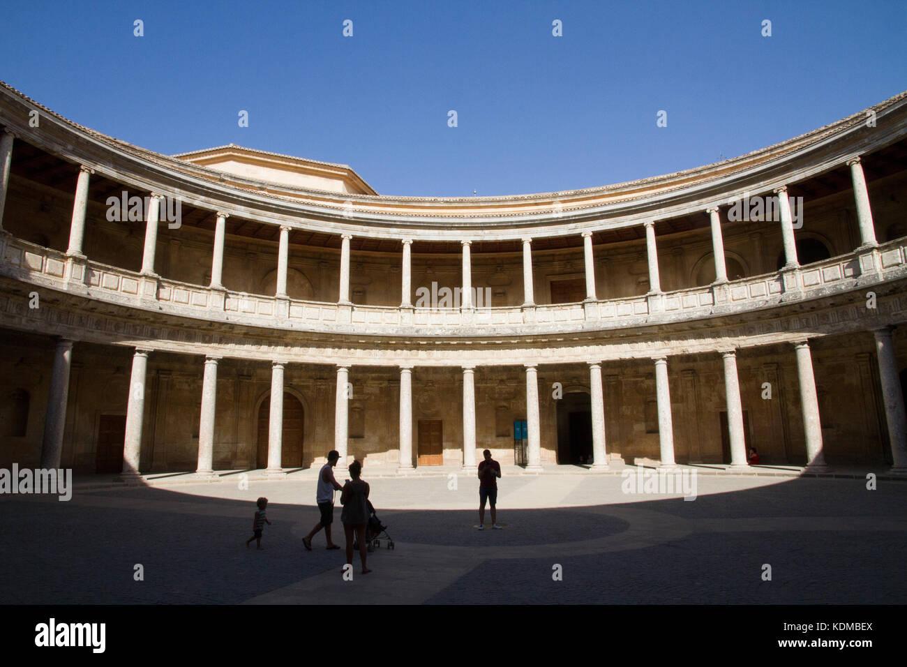 Alhambra Granada, Alhambra Granada, Patio Of Charles V (Carlos V)  Palacetourist Visiting