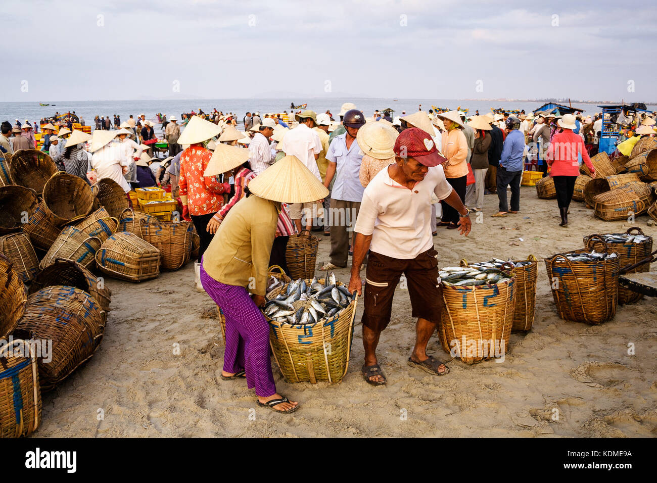Bamboo conical hat vietnam stock photos bamboo conical for Long beach fish market