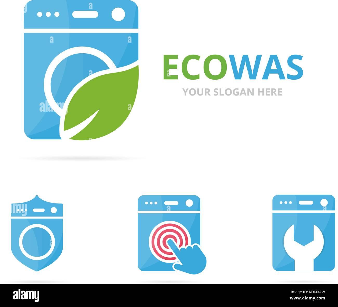 Washing machine logo stock photos washing machine logo stock set of laundry logo combination washing machine and eco symbol or icon unique washer buycottarizona Gallery