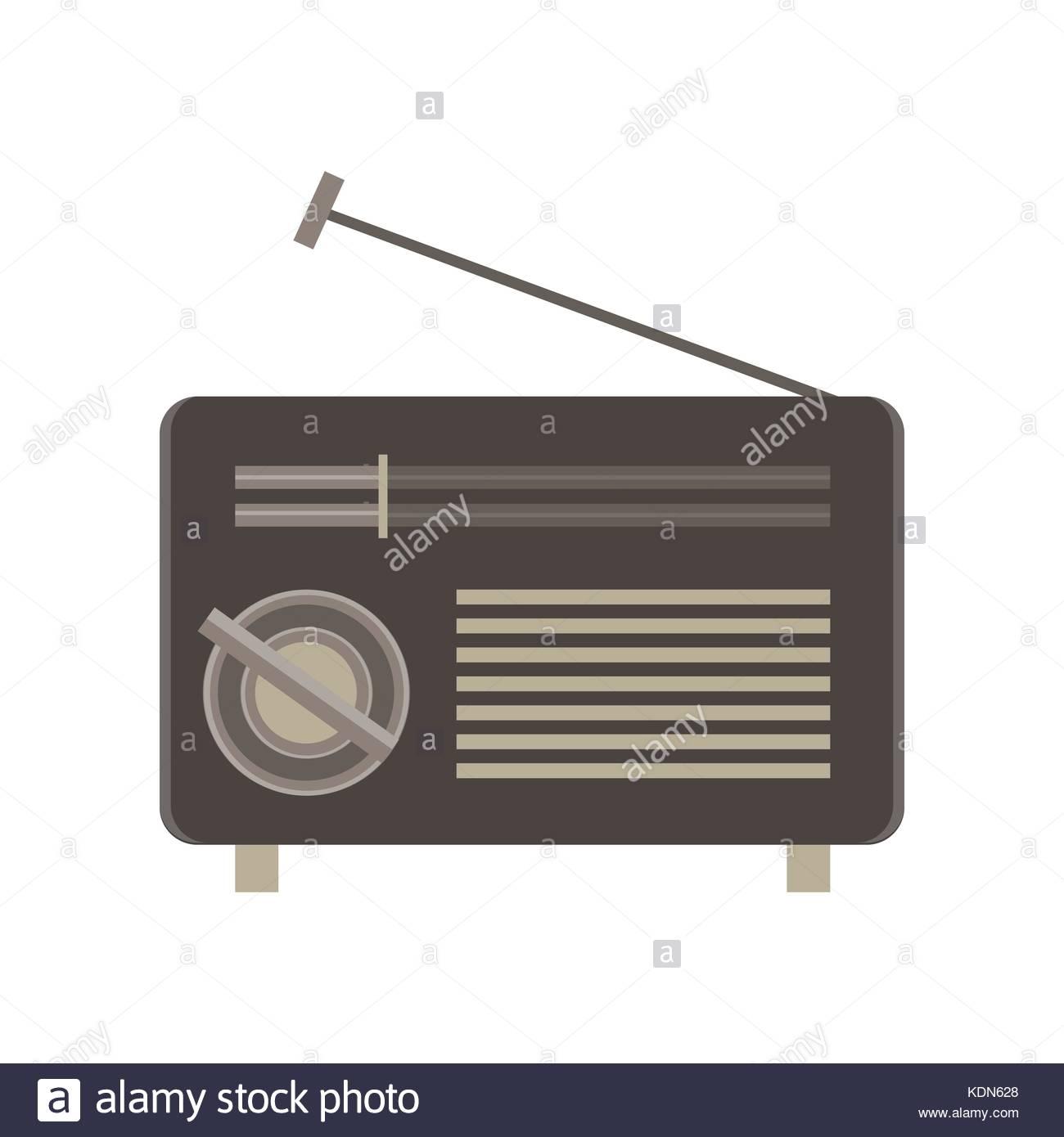 Radio flat icon isolated. Retro vintage style illustration sound ...