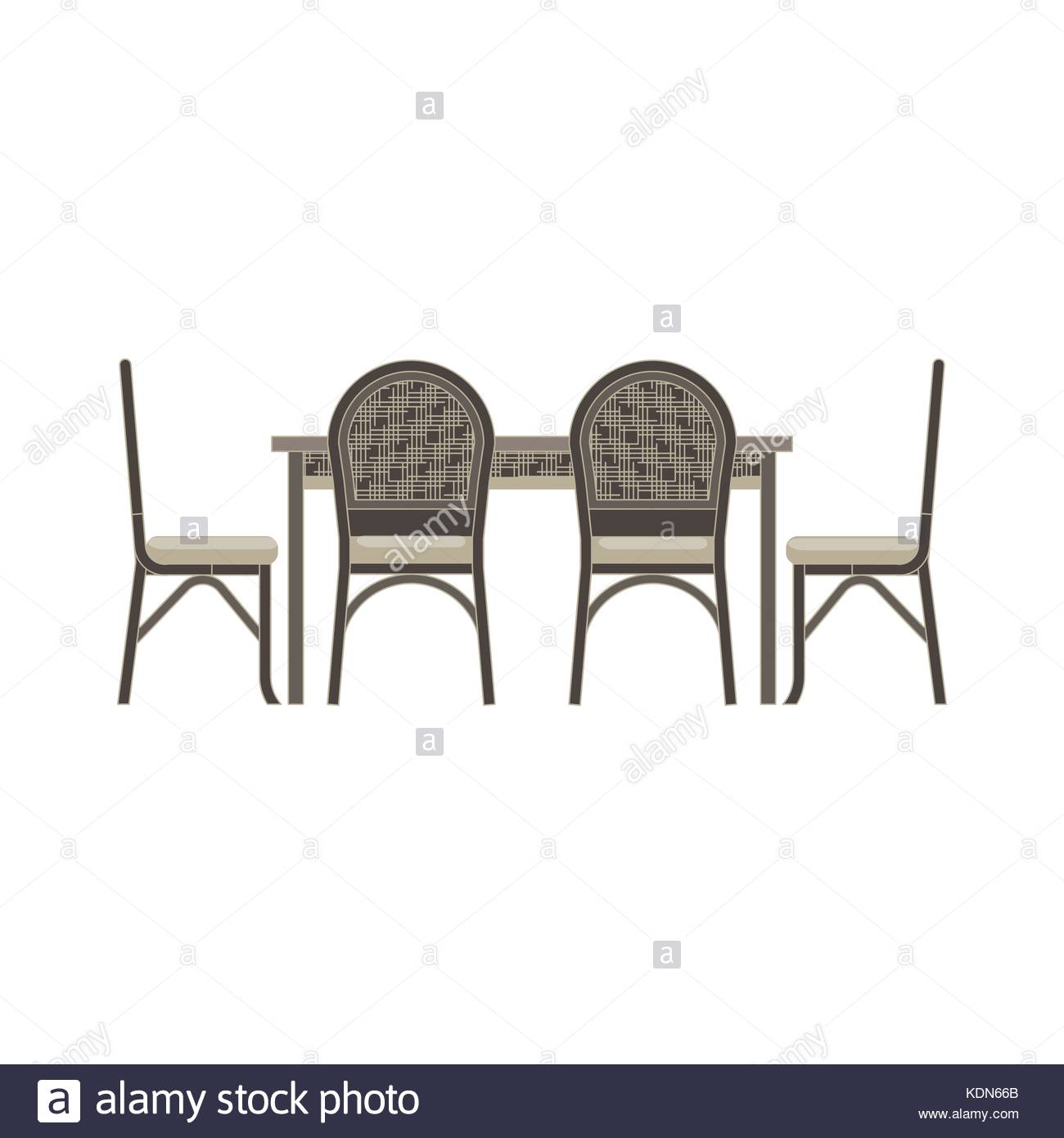 Vector Table Chair Two Flat Icon Isolated Restaurant Furniture Side View Illustration Cafe Design