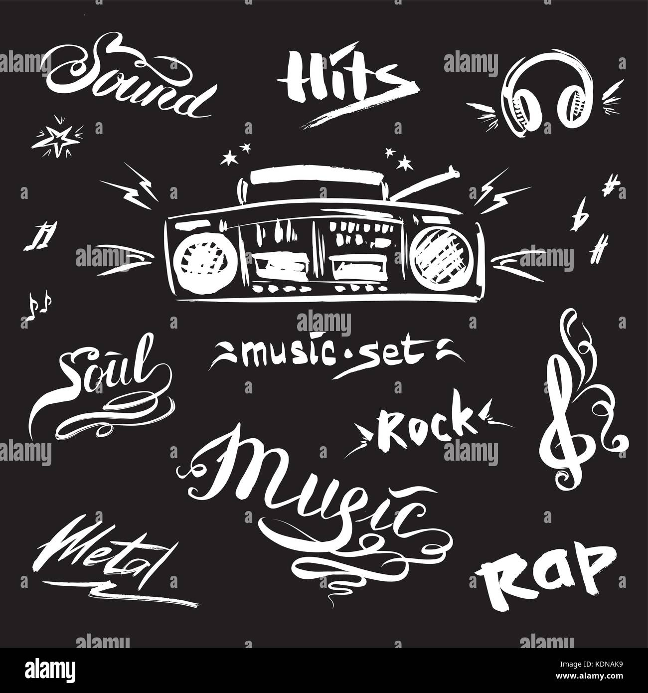 hand drawn sketch with notes music player and music styles lettering signs vector illustration on black background