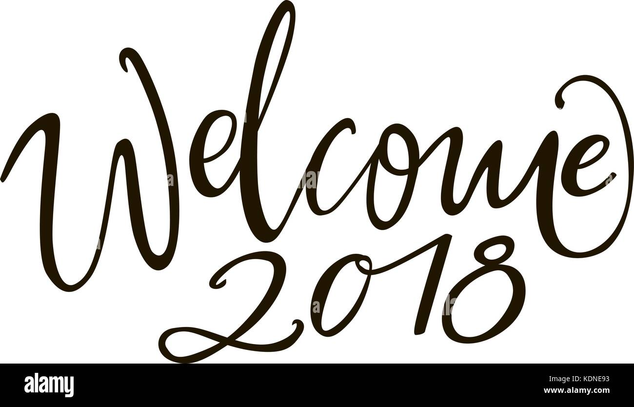 Welcome brush lettering card calligraphy stock photos