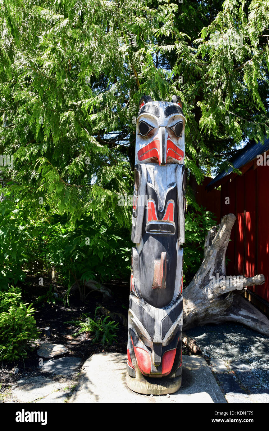 Carved Totem Near The Port Renfrew Hotel On Vancouver Island Bc