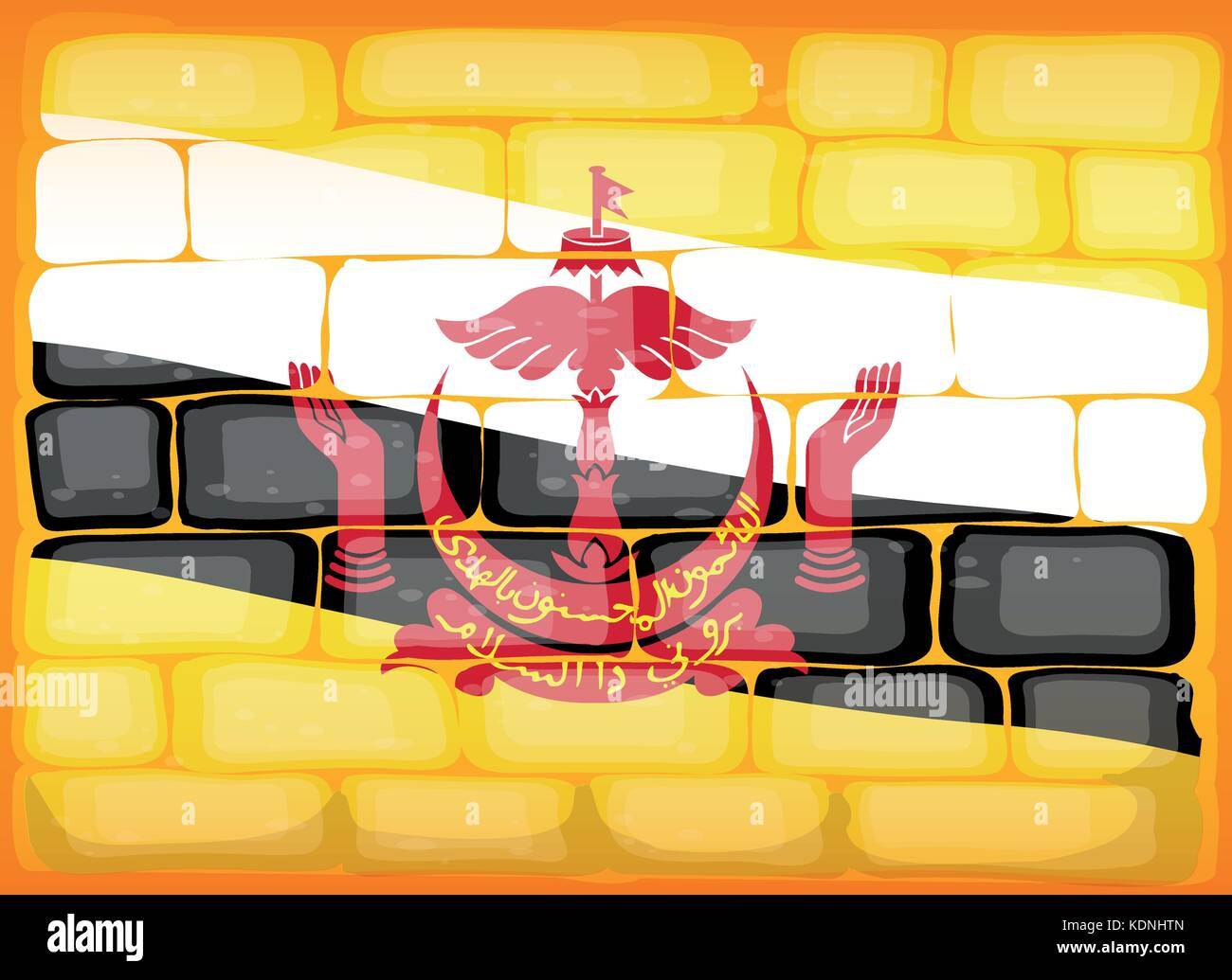 Brunei flag painted on brickwall illustration Stock Vector Art ...