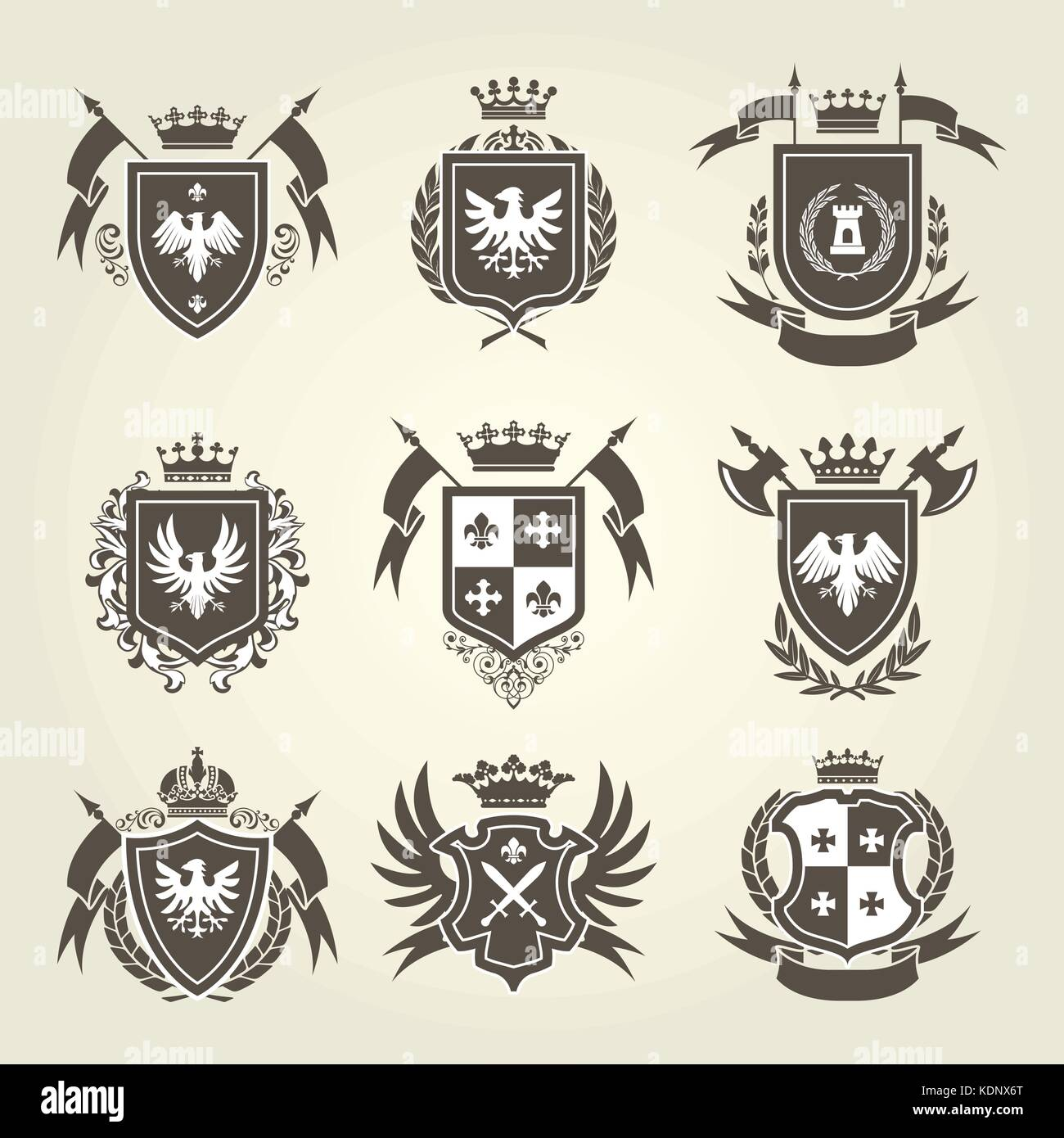 Medieval Royal Coat Of Arms And Knight Emblems Heraldic Shield