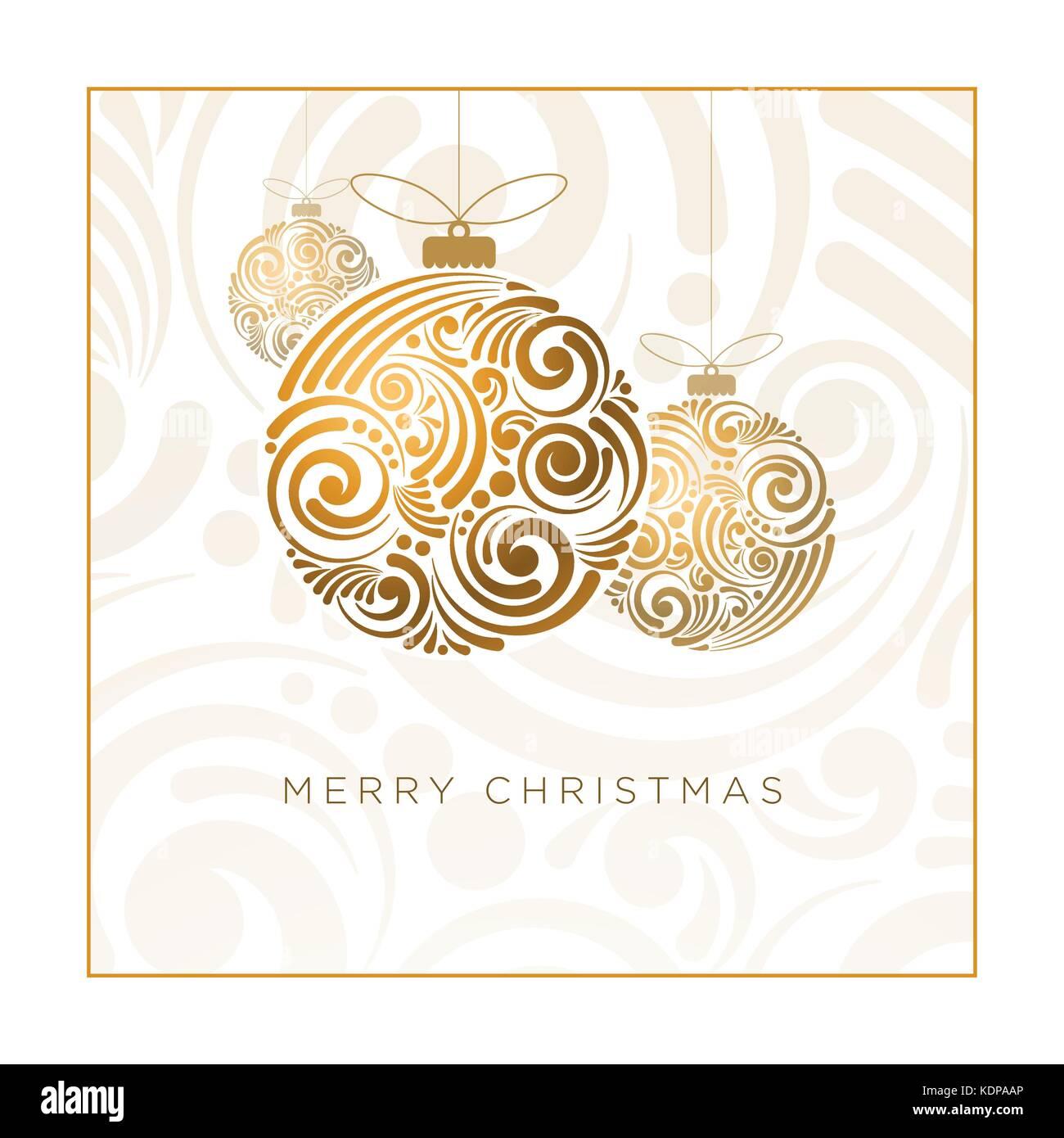 Vector Christmas Greeting Card Design Abstract Swirl Christmas Ball