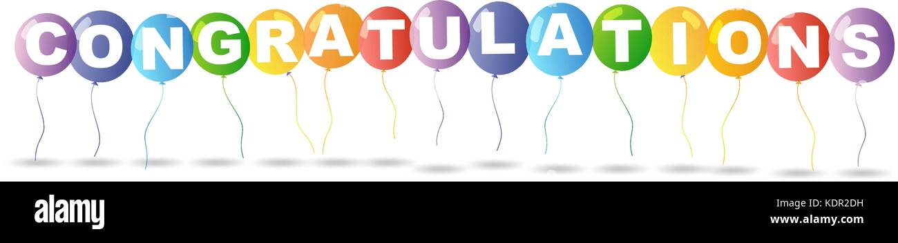 colorful balloons and word congratulations illustration stock vector